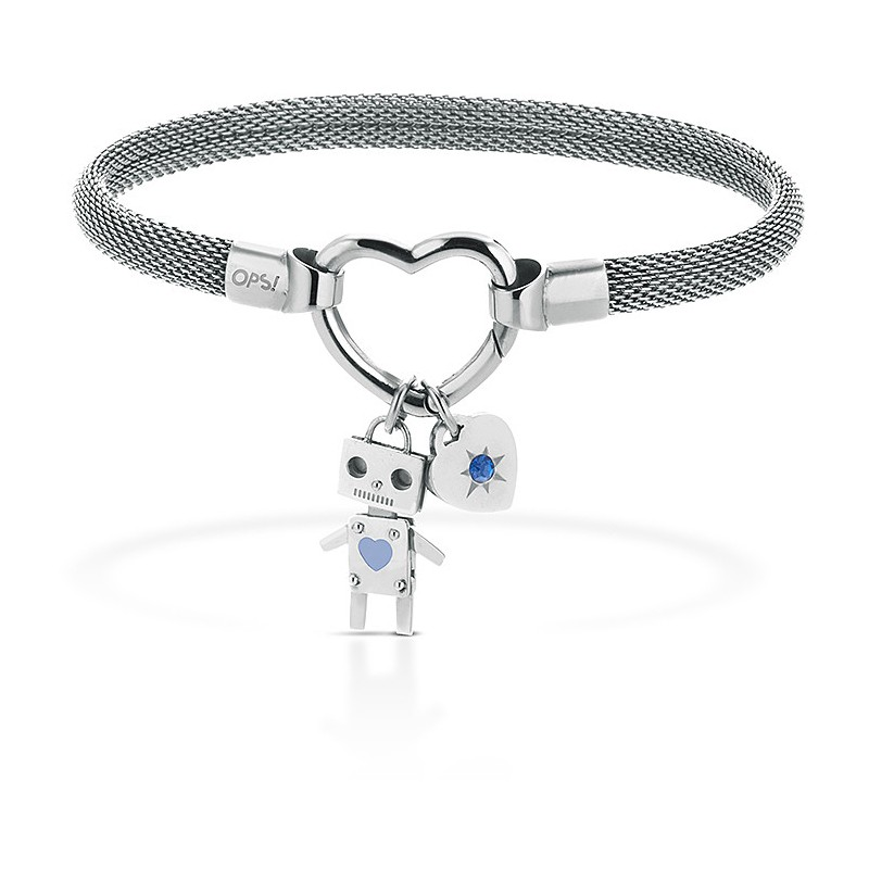 outlet 4db4e c79a2 OPS BRACCIALE OPSOBJECTS CLASP SS ROBOT L.BLUE DONNA OPSBR-428
